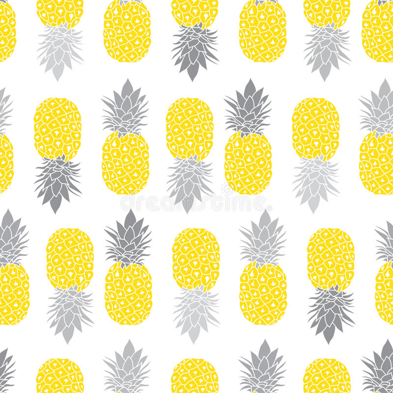 Download Fresh Pineapples Vector Repeat Seamless Pattrern In Grey And Yellow Colors Great For Fabric