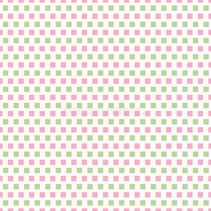Fresh pink and light green rows of squares in brick repeat design. Seamless geometric vector pattern on white background. Great for wellness, cosmetic products royalty free illustration