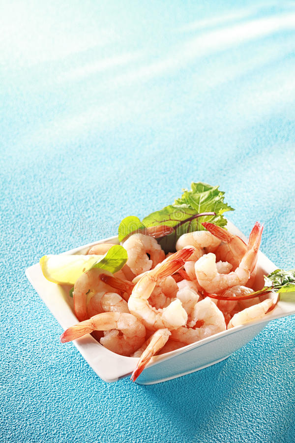 Fresh pink prawn appetizer royalty free stock photography