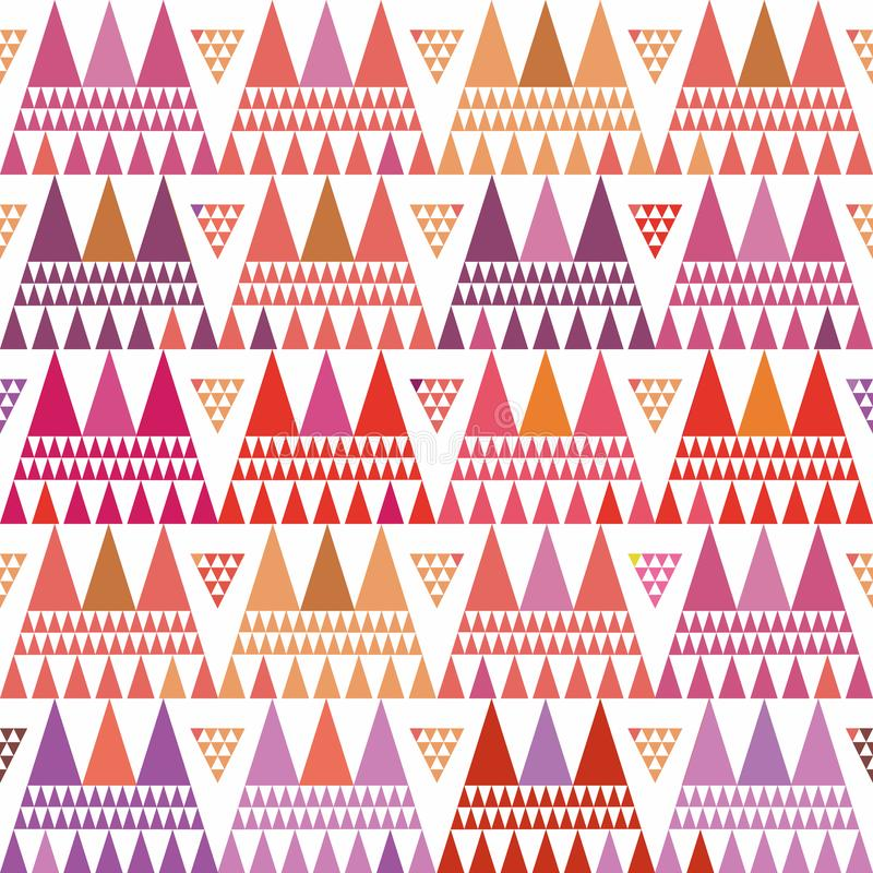 Fresh pink, purple and orange boho style triangle clusters. Repeat vector pattern on white background with summer vibe. Great for wellbeing, yoga, beauty stock illustration