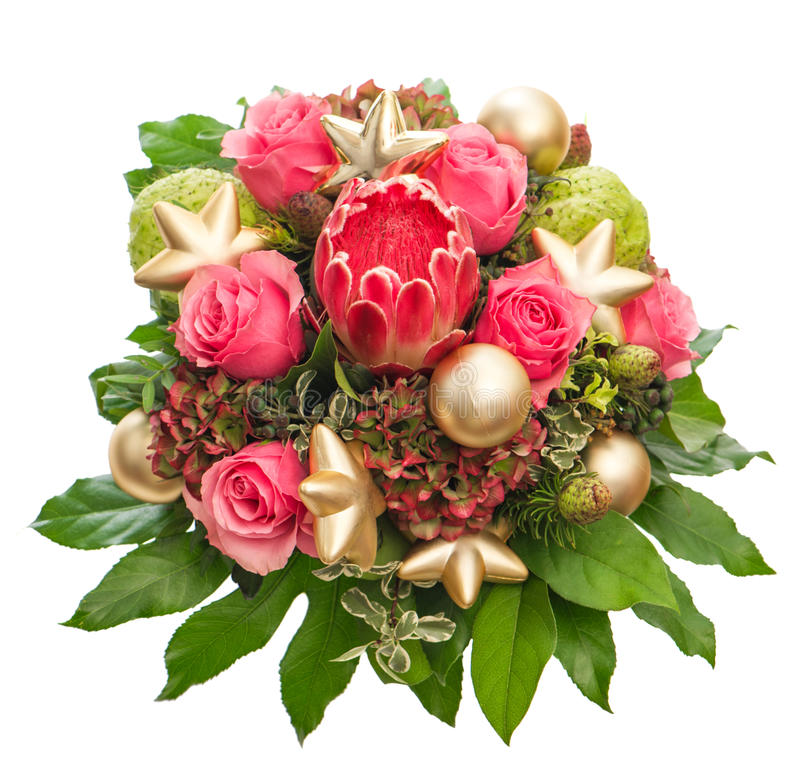 Fresh pink roses with golden christmas decoration royalty free stock image