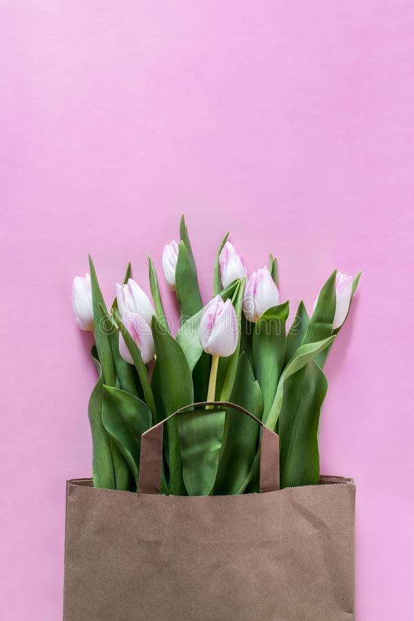 Fresh pink tulips flowers in paper bag stock image