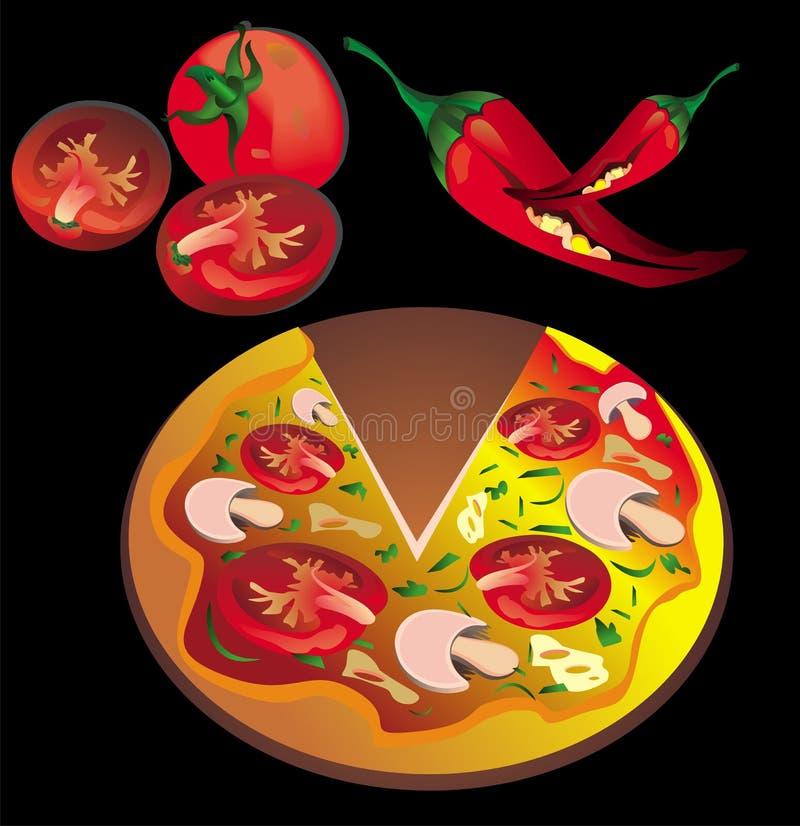 Download Fresh pizza stock vector. Illustration of mozzarella - 14060103
