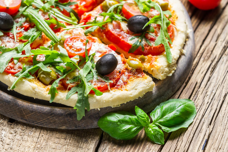 Fresh pizza made of fresh ingredients royalty free stock images