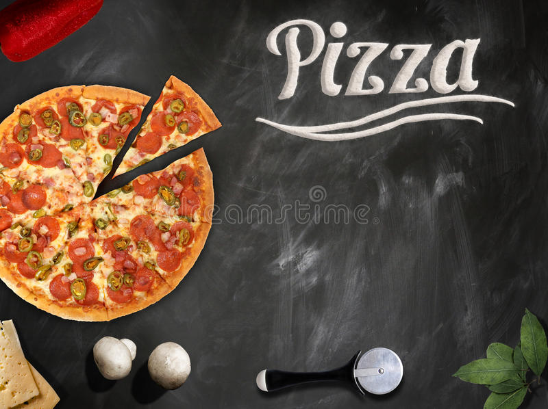 Download Fresh Pizza With Mushrooms Salami Pepper On Dark Beackground Stock Image - Image: 90123733