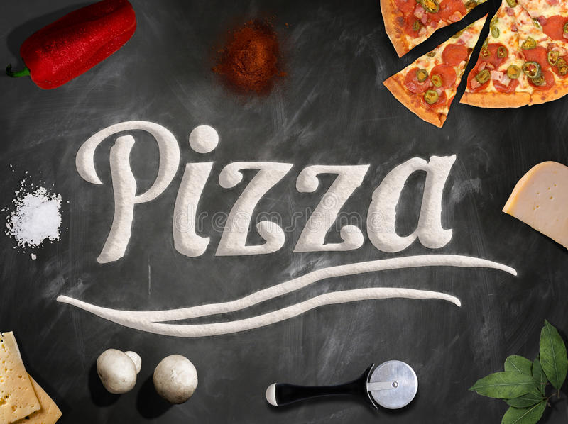 Download Fresh Pizza With Mushrooms Salami Pepper On Dark Beackground Stock Photo - Image: 90124106