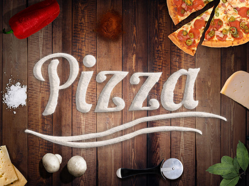 Download Fresh Pizza With Mushrooms Salami Pepper On Dark Beackground Stock Photo - Image: 90124500