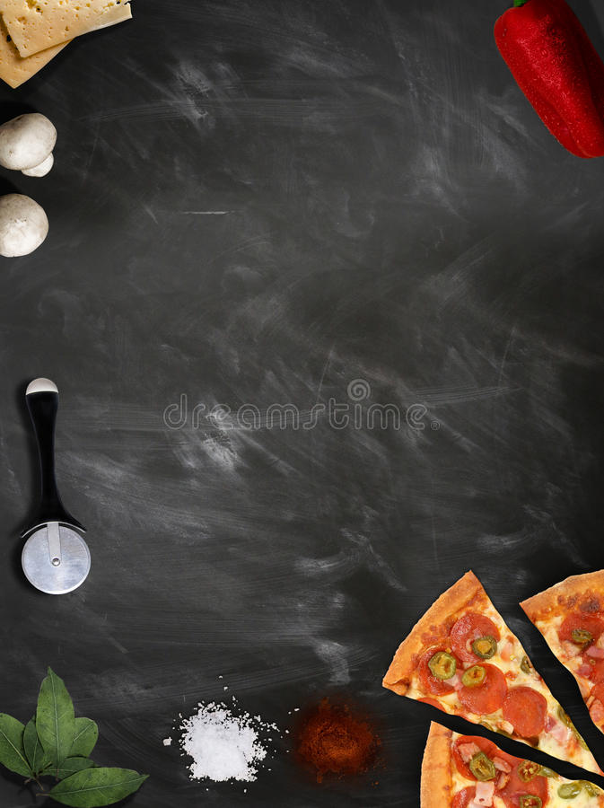 Download Fresh Pizza With Mushrooms Salami Pepper On Dark Beackground Stock Photo - Image: 90142060