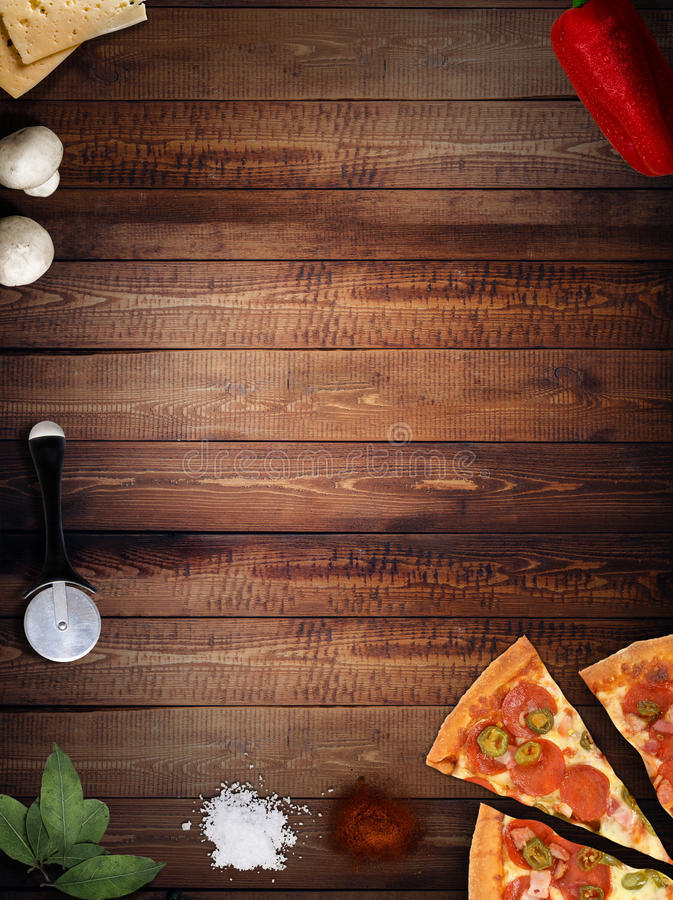 Download Fresh Pizza With Mushrooms Salami Pepper On Dark Beackground Stock Photo - Image: 90142380