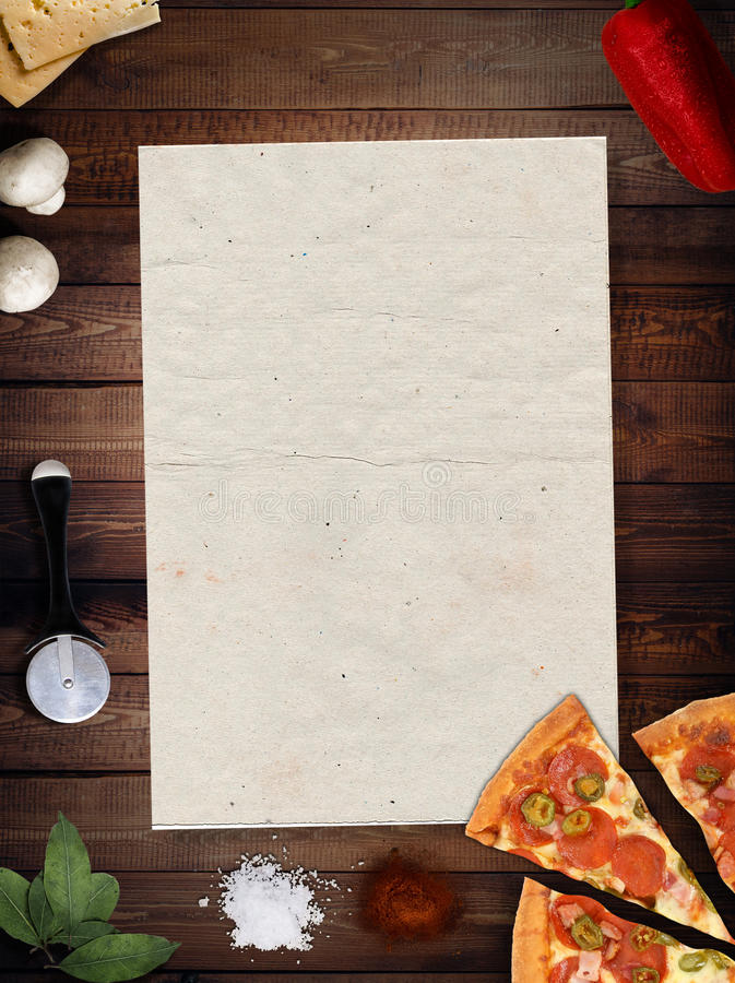 Download Fresh Pizza With Mushrooms Salami Pepper On Dark Beackground Stock Image - Image of meal, fresh: 90142861