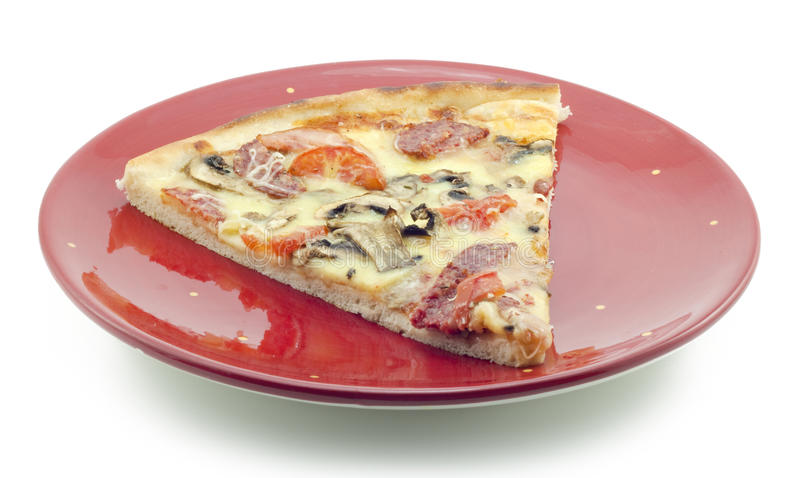 Fresh Pizza On A Red Plate Royalty Free Stock Photos