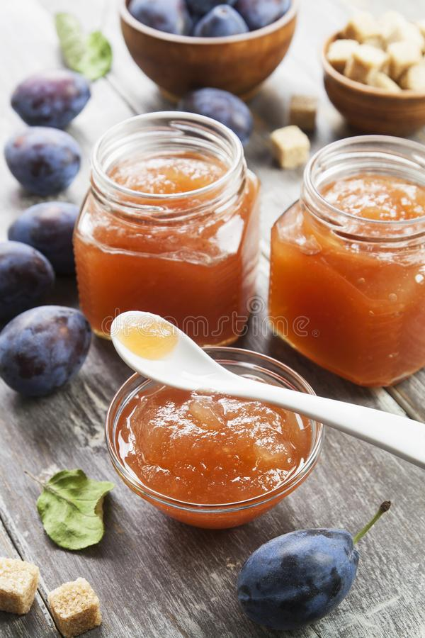 Fresh plum jam royalty free stock photography