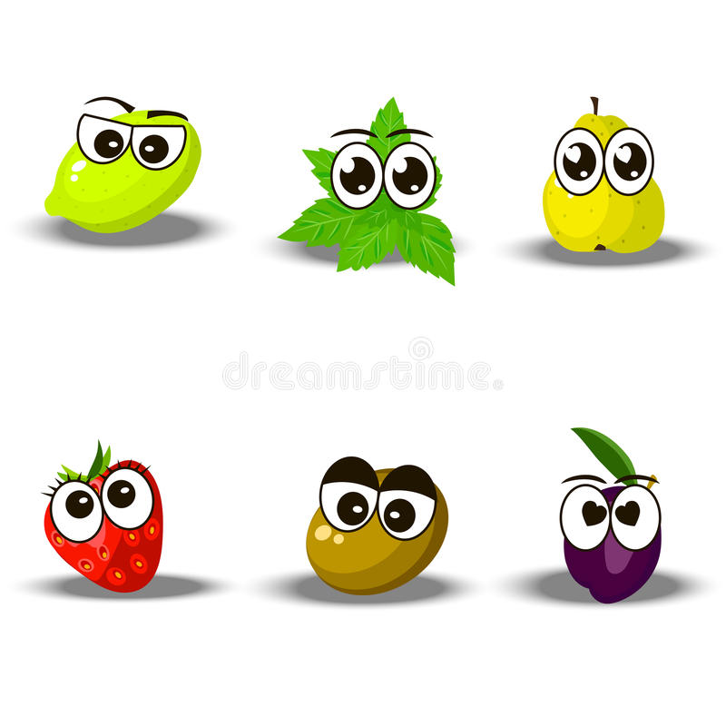 Fresh plum and slice. Very high quality original trendy set with fresh plum, lime, mintm strawberry, pear, kiwi character, personage or face royalty free illustration