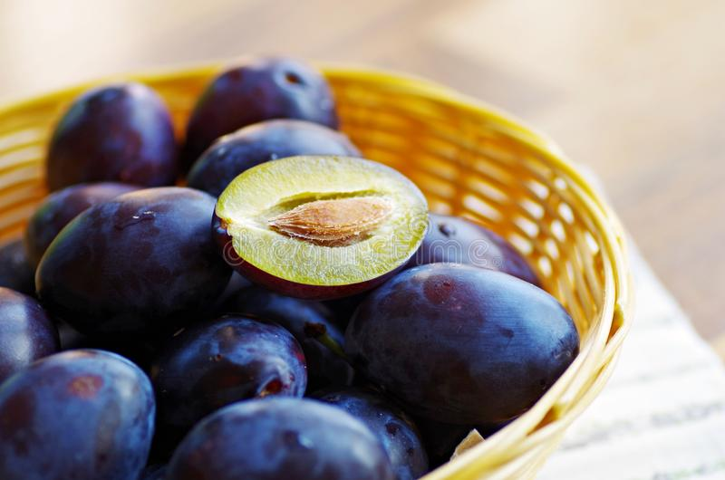 Fresh plums stock photos