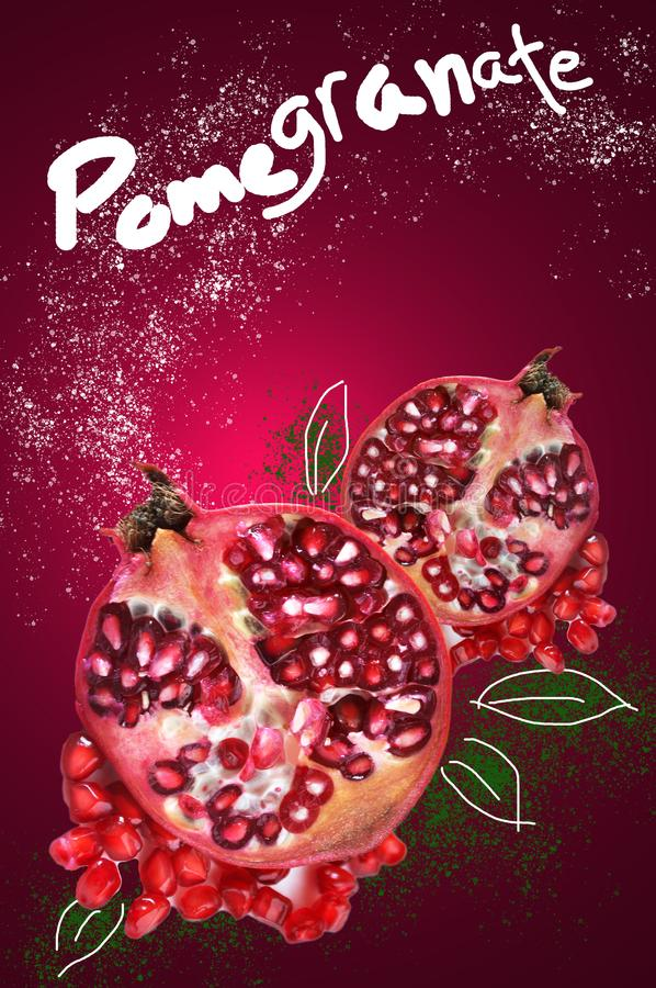 Fresh Pomegranate with wording on Red Background royalty free stock image
