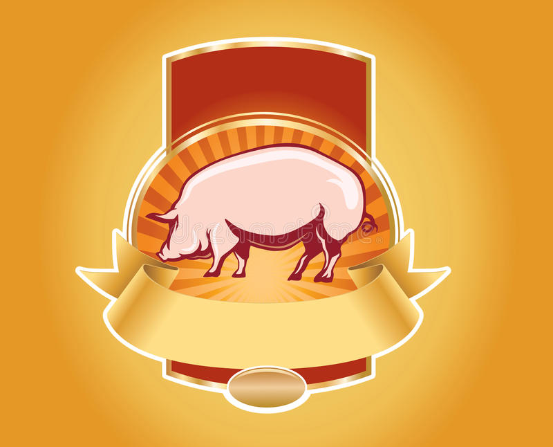 Fresh pork label with pig stock illustration