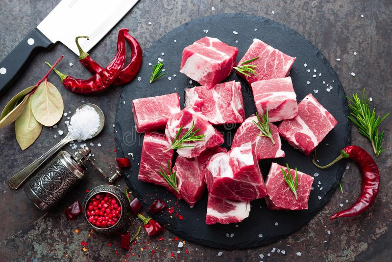 Fresh pork meat. Raw sliced pork meat. Pork neck stock image