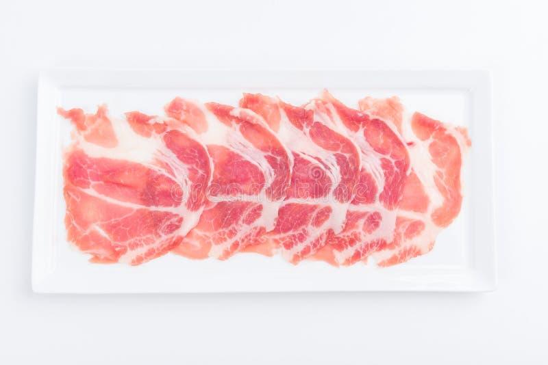 Fresh pork sliced for japanese hot pot stock photography