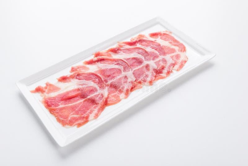 Fresh pork sliced for japanese hot pot royalty free stock images