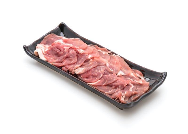 Fresh pork sliced. On white background royalty free stock photos