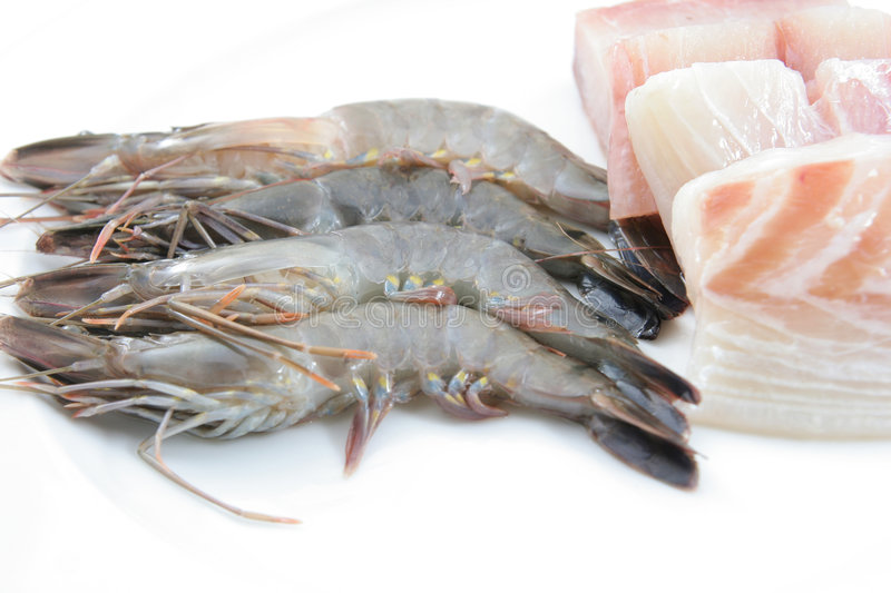 Download Fresh prawns and fish meat stock photo. Image of isolated - 7237524