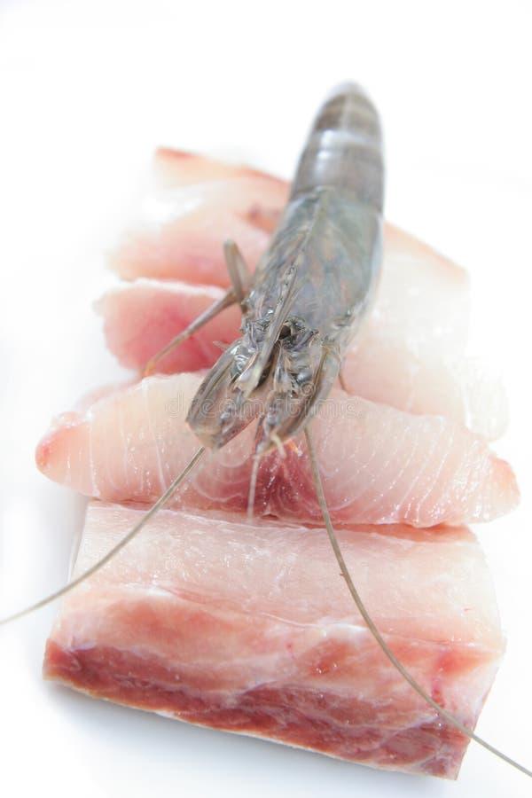 Fresh Prawns And Fish Meat Stock Image