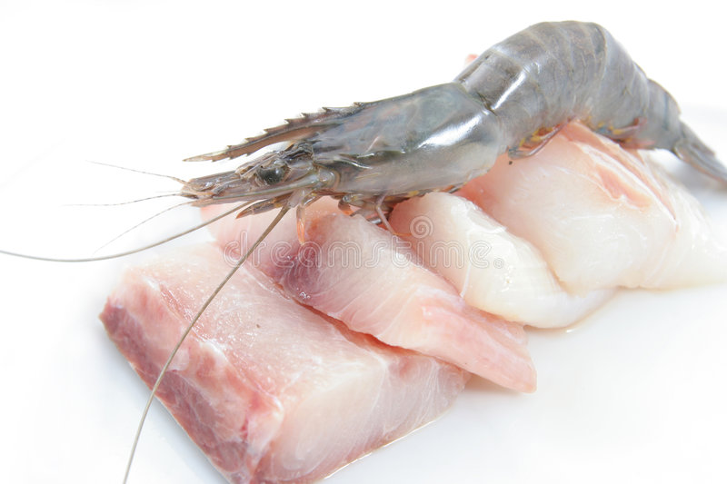 Fresh Prawns And Fish Meat Stock Photography