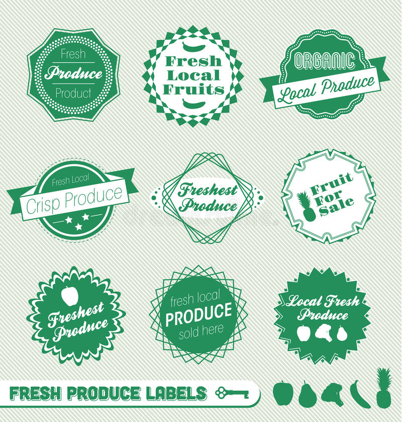 Fresh Produce Labels and Stickers vector illustration