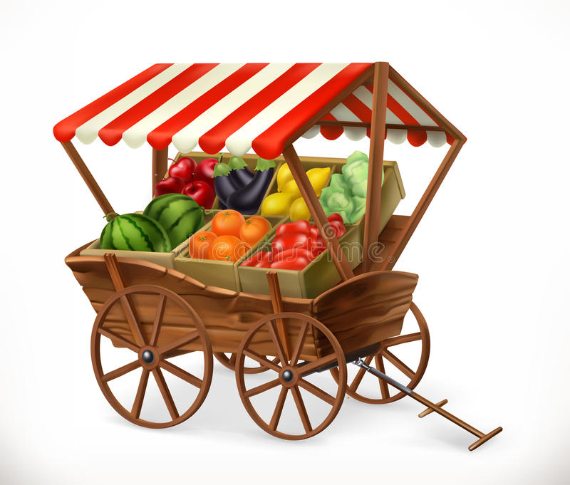 Fresh produce market. Cart with fruits and vegetables, vector icon stock illustration