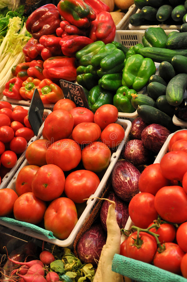 Fresh Produce For Sale at Market. In Barcelona Spain's Famous La Boceria stock photography