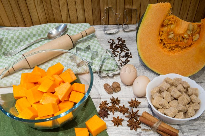 Fresh pumpkin and ingredient for bakery, eggs, cinnamon sticks a stock images