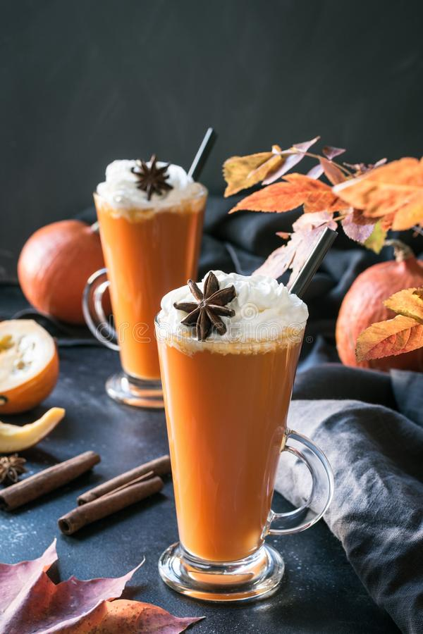 Fresh pumpkin spice smoothie or juice on dark. Autumn, fall or winter hot drink on dark. Cozy healthy beverage. Thanksgiving drink royalty free stock photo