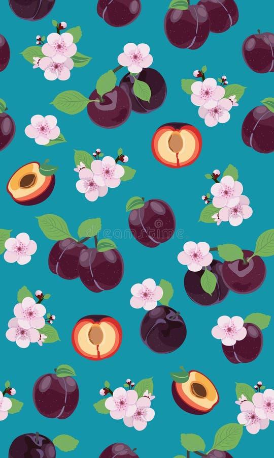 Fresh purple plum seamless pattern with pink cherry blossom on green background. Vector illustration stock illustration