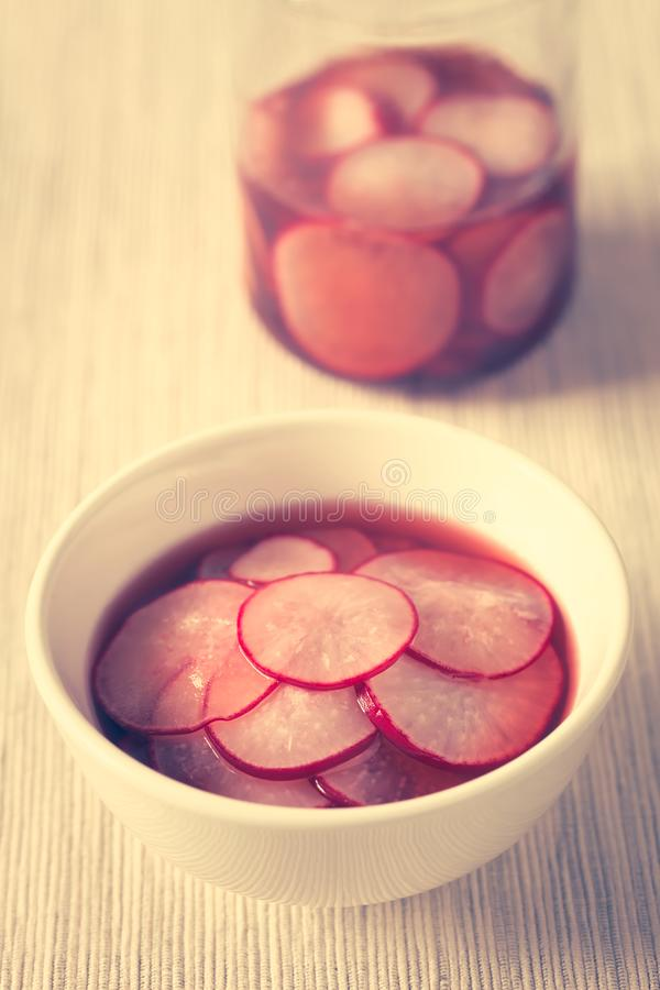 Pickled Radish Slices stock photography