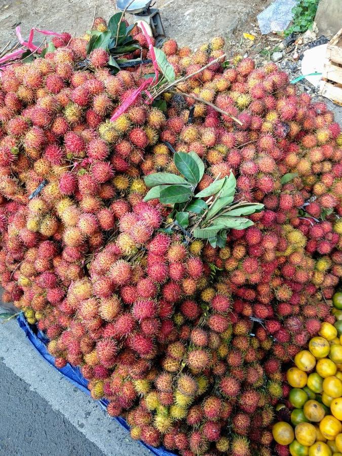 Fresh Rambutan Fruit. Street, market royalty free stock image