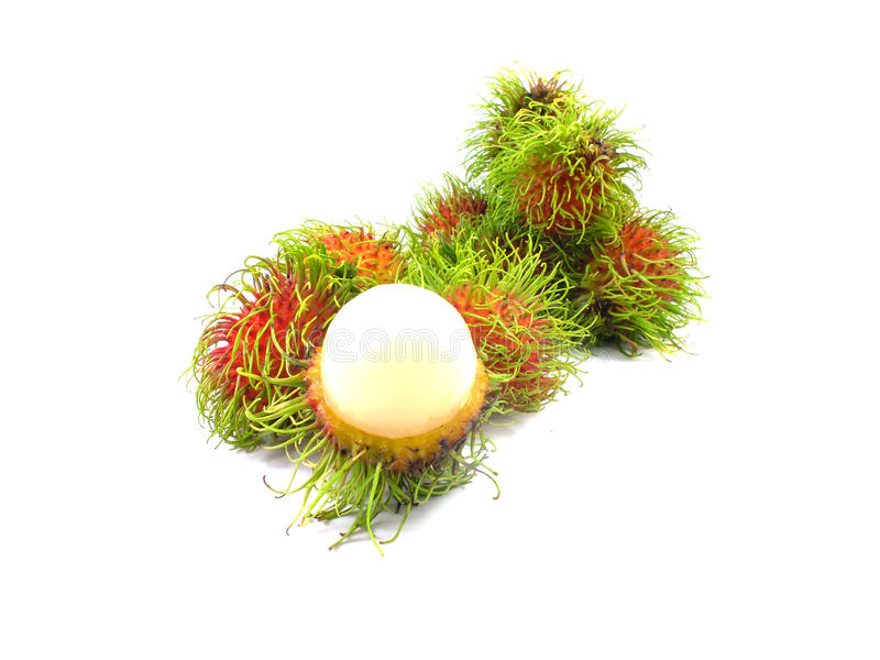 Fresh rambutan fruite. Fresh rambutan on white background stock photos