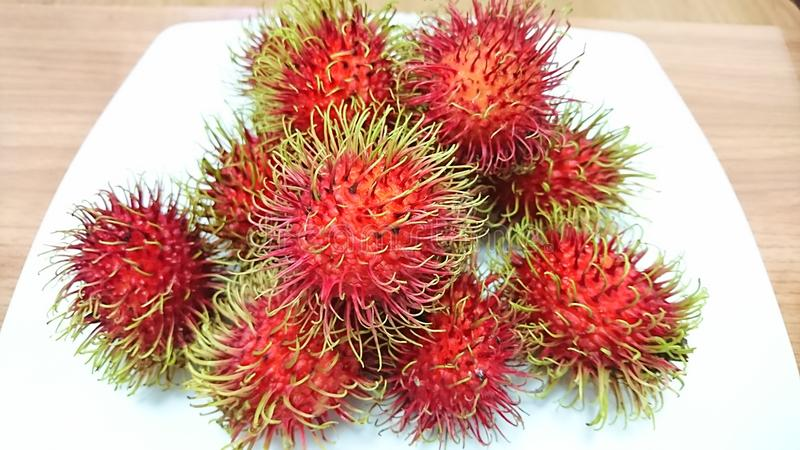 Fresh rambutan from thailand royalty free stock image