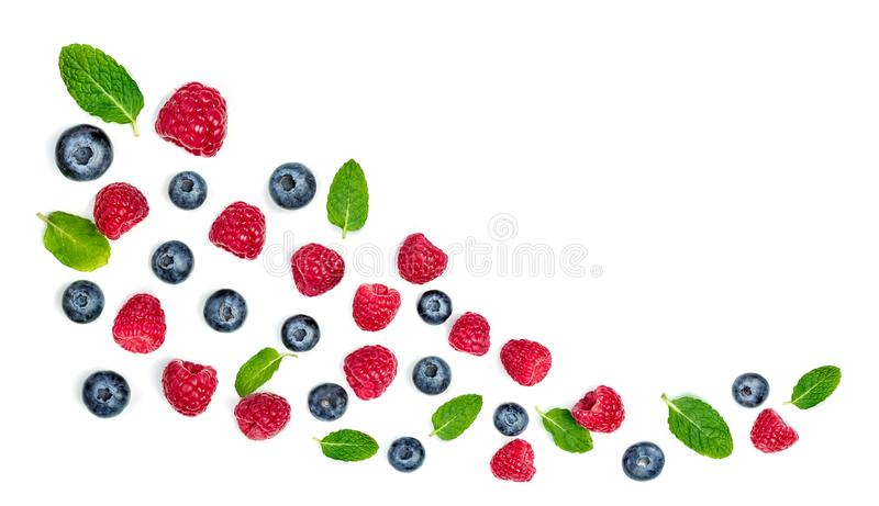 Fresh raspberries and blueberries with leaves isolated on white background. Berry ornament stock images