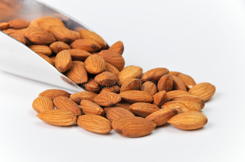 Download Fresh Raw Almonds In Aluminum Scoop On White Stock Photo - Image of nutrition, fatty: 6466192