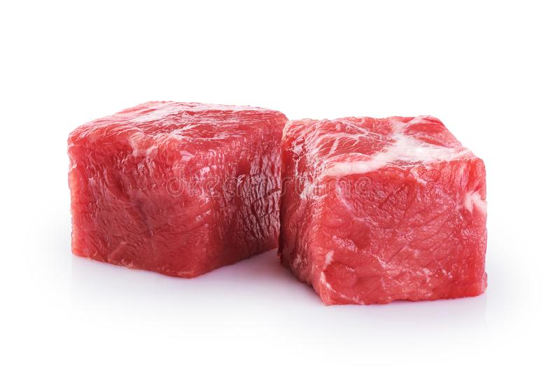 Fresh raw beef cubes royalty free stock photos
