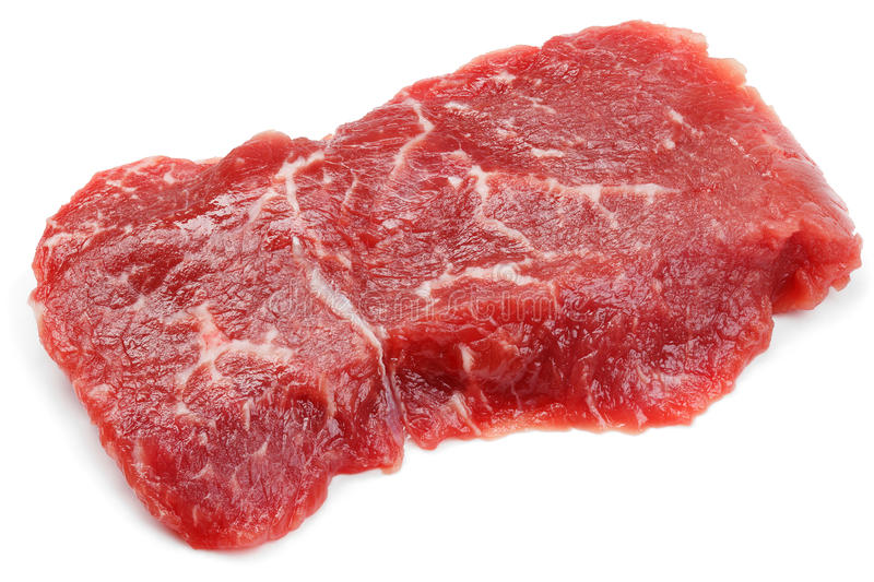Fresh raw beef steak isolated on white. Top view of fresh raw beef steak isolated on white background stock images
