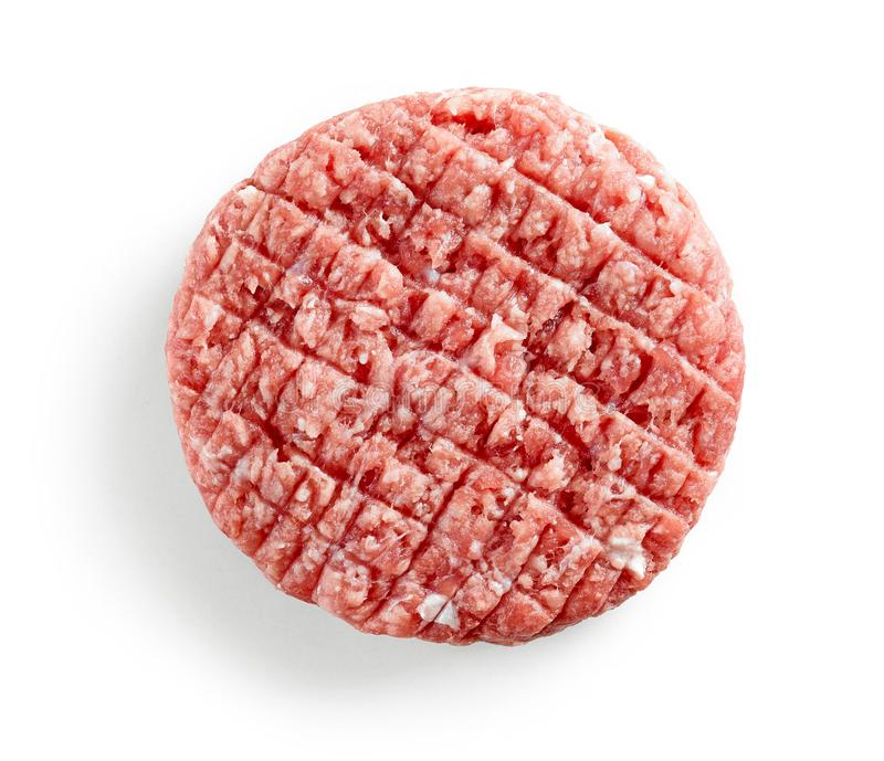 Fresh raw burger meat. Isolated on white background, top view stock images