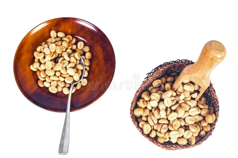 Fresh Raw coffee beans in wood dish on white. Background stock photo