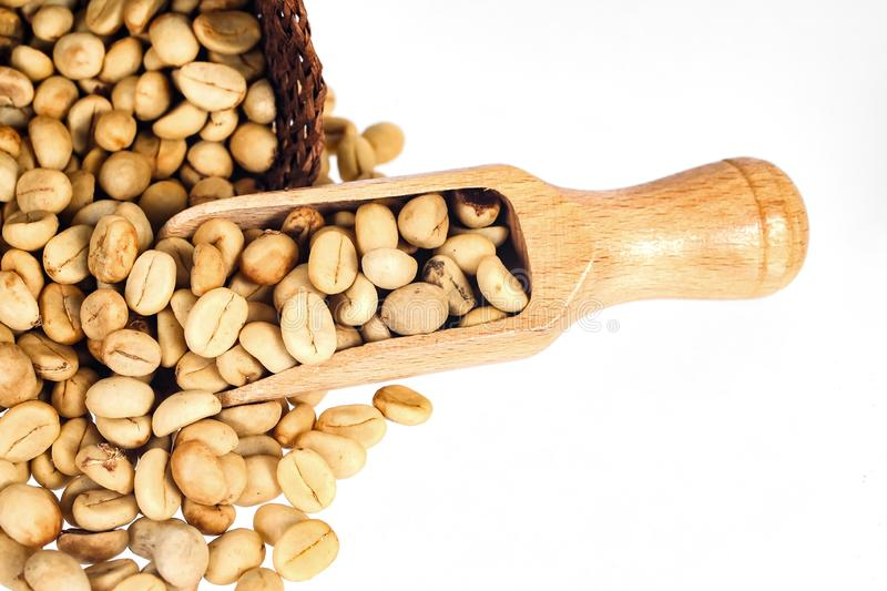 Fresh Raw coffee beans in wood spoon. On background stock photo