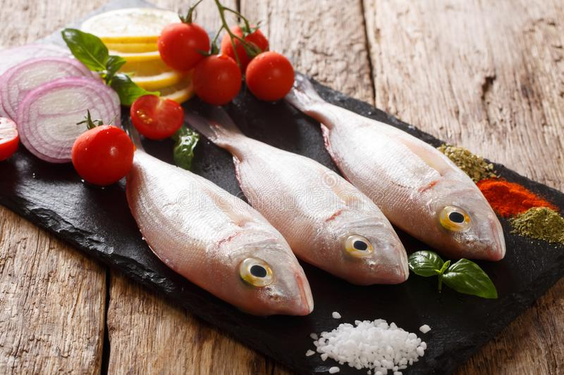 Fresh raw dorado or gilt-head sea bream fish with spices, tomatoes, onions and lemon closeup on a slate board. horizontal. Fresh raw dorado or gilt-head sea royalty free stock photo
