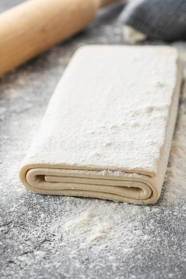 Free Fresh Raw Dough On Table. Puff Pastry. Copy Space. Stock Photos - 145195793