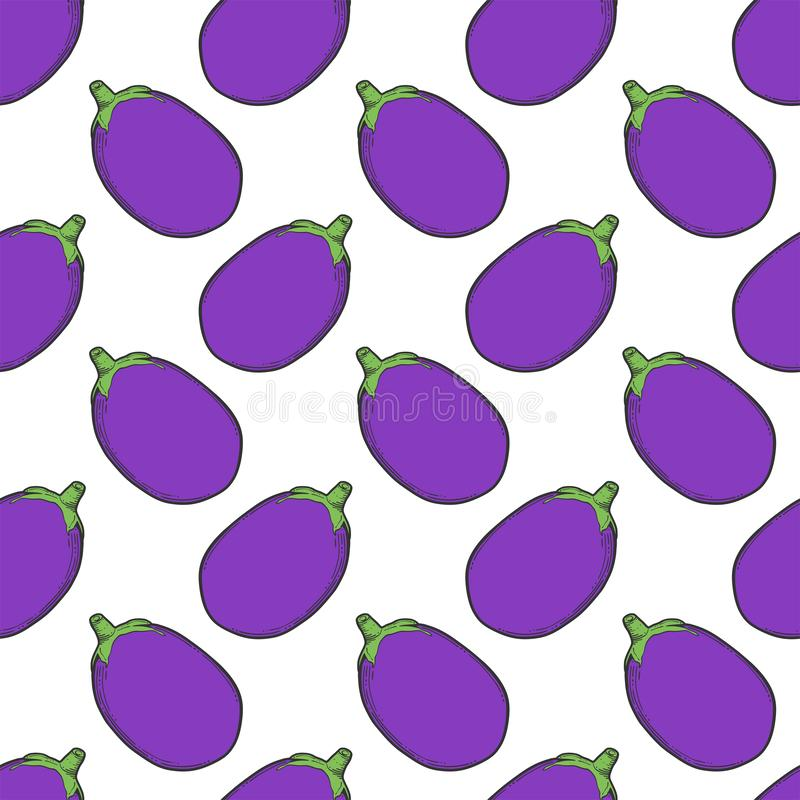 Fresh raw eggplant. Vector concept in doodle and sketch style. Hand drawn illustration for printing on T-shirts, postcards. Seamless pattern for textile, paper vector illustration