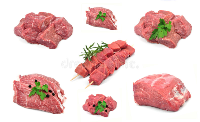 Fresh raw meat collection royalty free stock photography