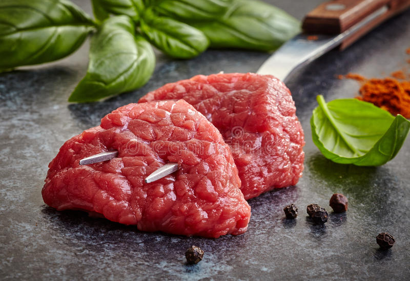 Fresh raw meat cuts stock photo