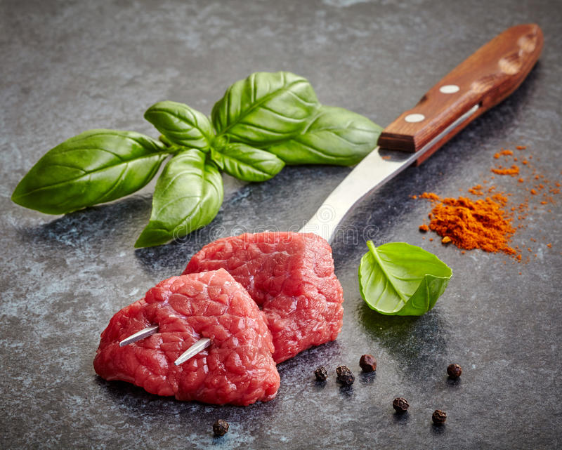 Fresh raw meat cuts royalty free stock photo